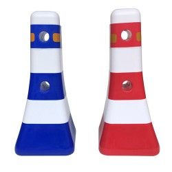 供应粤盾交通 PVC 蘑菇墩 红蓝白护栏墩反光塑料防撞桶